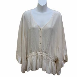 Alice & Olive Pleated Peplum  Silk Button Down Top
